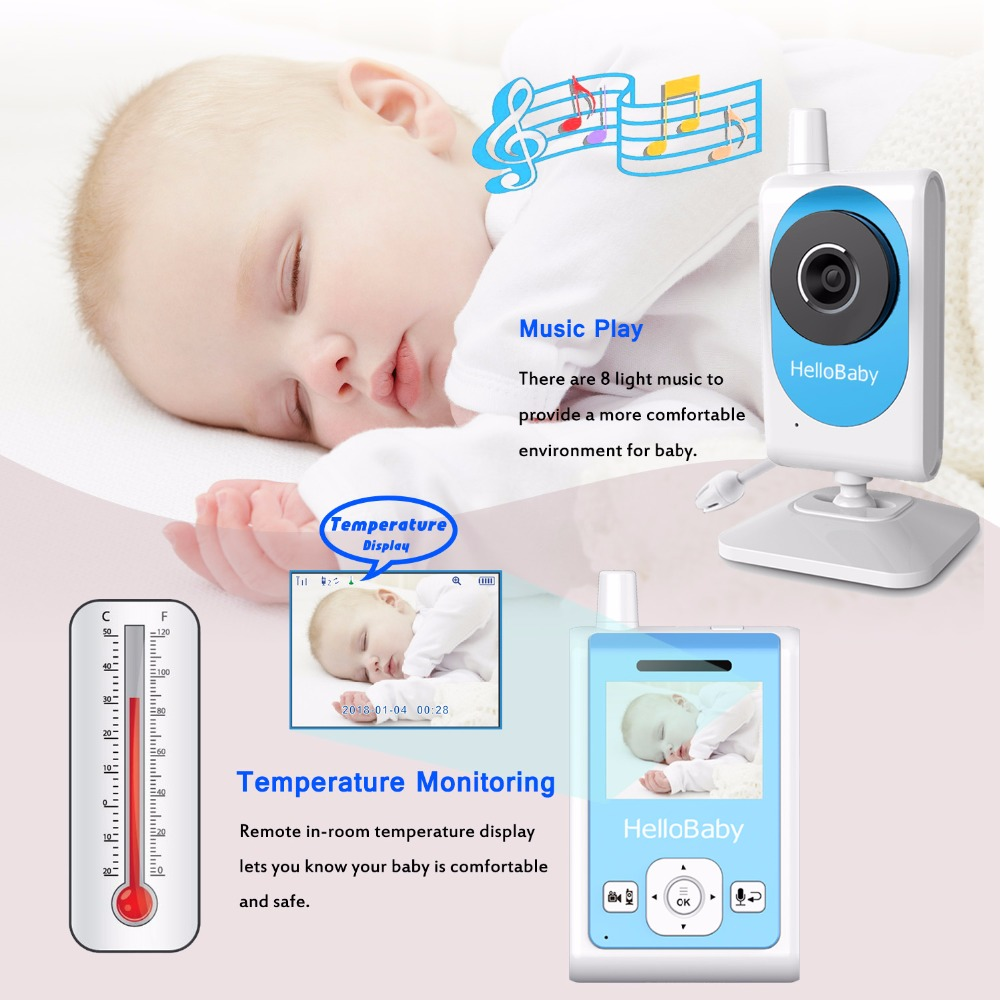 HelloBaby HB25 Wireless Video Baby Monitor with Two-way Talk Audio, Motion Detection & Video Recording, Night Vision Camera