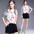 Veydu Summer Fashion Maestro Printed Half Sleeve Silk Blouse Elegant V-Neck Plicated Hem Shirts Slim Blusas Shirts