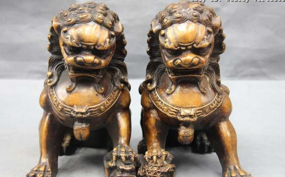Chinese Refined Bronze Copper Evil Guardian Door Bei Jing Fu Foo Dog Lion PairChinese Refined Bronze Copper Evil Guardian Door Bei Jing Fu Foo Dog Lion Pair