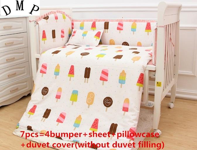 Promotion! 6/7PCS Baby Sheet and Bumpers for Crib/Cot,Baby Crib Bedding Set on Sale ,Duvet Cover,120*60/120*70cm простыни swaddledesigns простынь детская на резинке fitted crib sheet 140х70