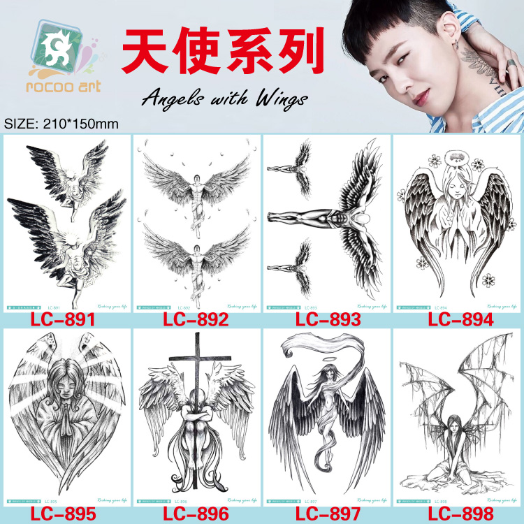 8 Different Styles Devil Hole Cool Feather Wings Tattoo Designs Temporary Tattoos Man With Demon Angels Wing Modern Body Tattoo golden state of mind colourpop