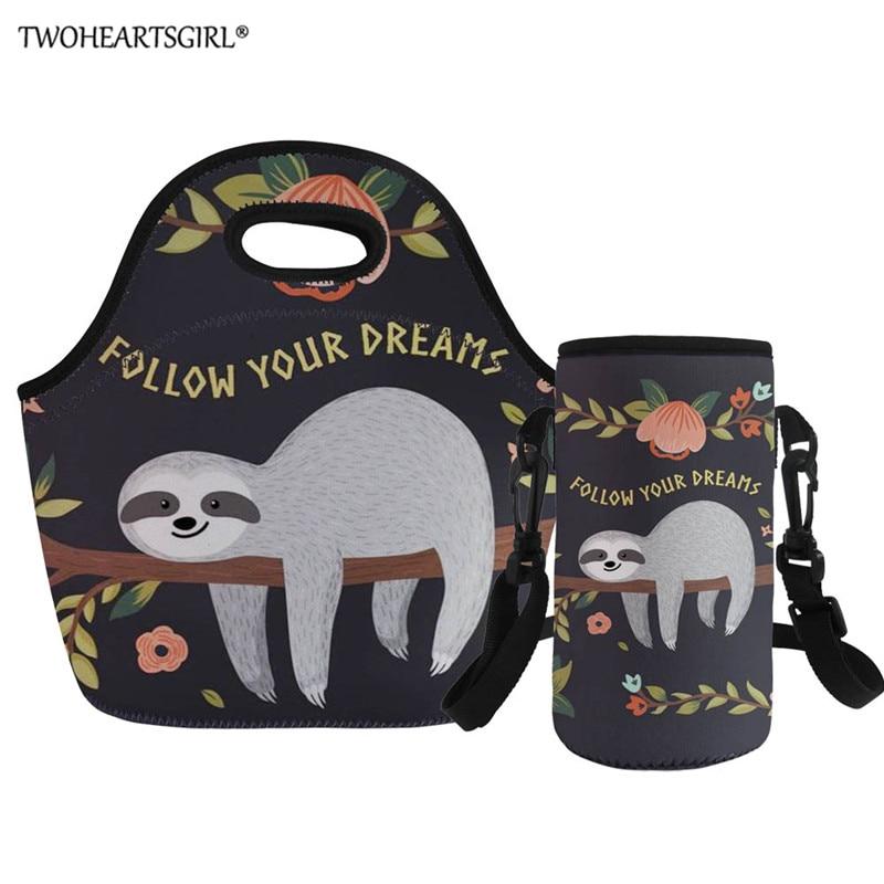 Twoheartsgirl Thermal Insulated Cute Sloth print Lunch Bags for Women Kids Thermal Bag Lunch Box Food Picnic Bags Tote Handbags