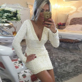 Lace Women Party Dress Sexy Short Cocktail Dress With Pearls Long Sleeves Vestido De Festa Curto Deep V Neck Mini Summer Dress