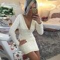 Vestido de encaje de Partido de Las Mujeres Sexy Vestido de Cóctel Corto Con Perlas Largo mangas Vestido De Festa Curto Profundo Cuello En V Mini Vestido de Verano