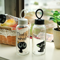 Cute cat glass cup water bottle coffee cups birthday gifts drinkware easy use flower cups 350ml/450ml