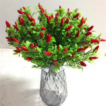 Fake Pepper Bunch (7 stems/piece ) Simulation Red Peppers for Wedding Home Showcase Decorative Artificial Plants