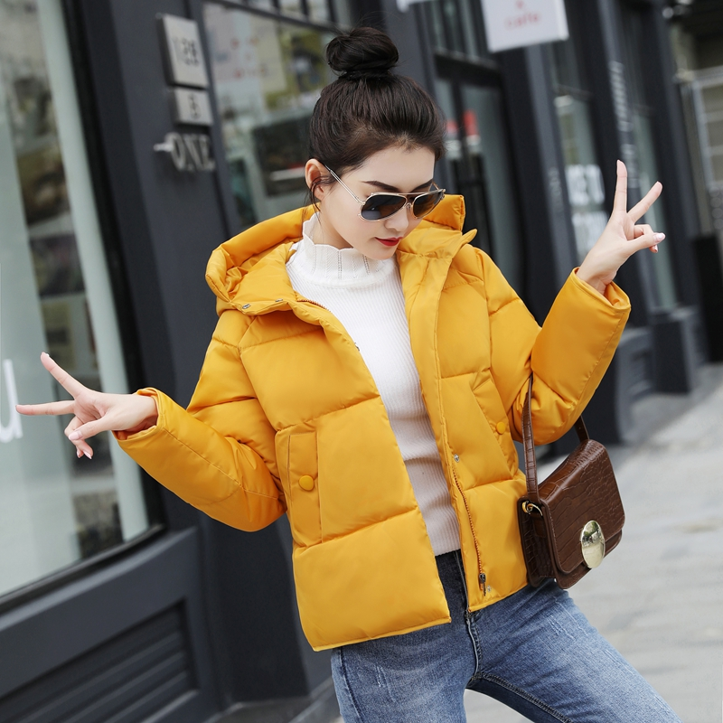 2019 Winter Jacket Women  Cotton Solid New Women's Hooded Winter Loose Cotton-padded Jackets  Parkas