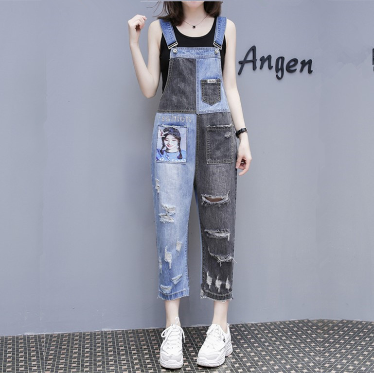 Plus Size Oversized Ripped Hole Women Character Print Pocket Suspender Contrast Block Loose Overalls Denim Pant Jeans Romper Top