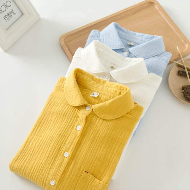 Blouse Shirt Autumn New Casual Cotton Solid Peter pan Collar Pockets Soft Slim Button Straight Women's Cotton Shirt Yellow KB07