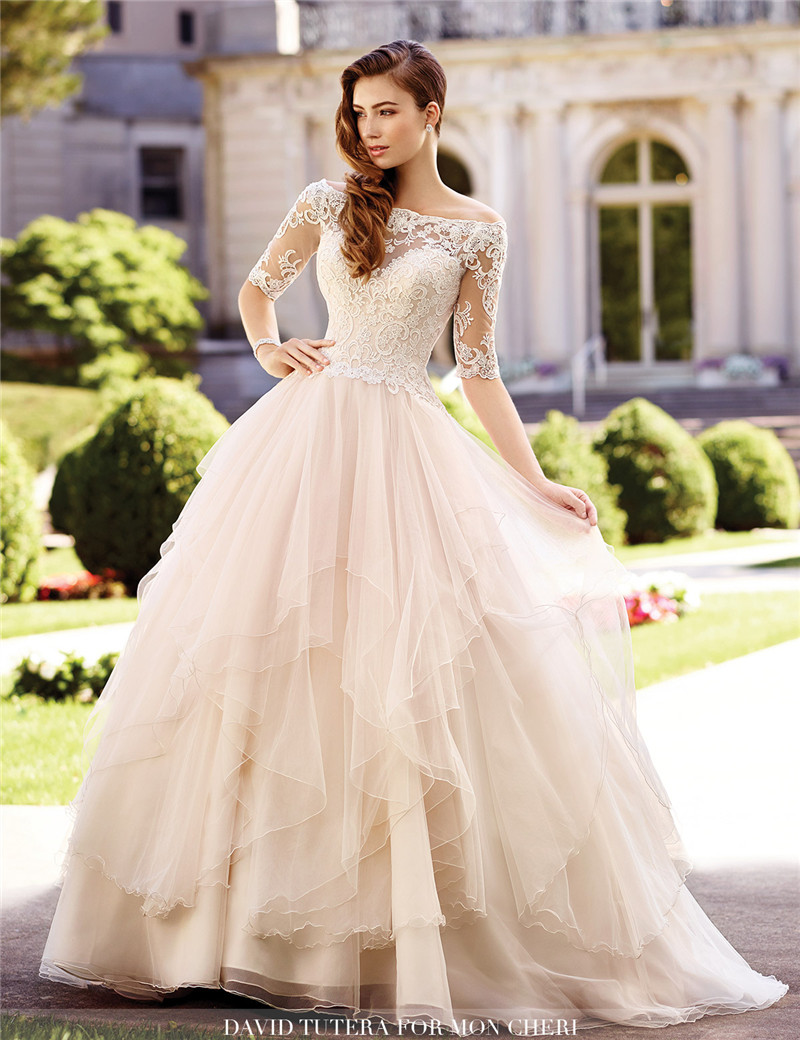 Compare prices on tulle ball gown champagne online shoppingbuy vestidos de novia china bridal gowns plus size wedding dresses with sleeves tulle ball gown lace ombrellifo Gallery