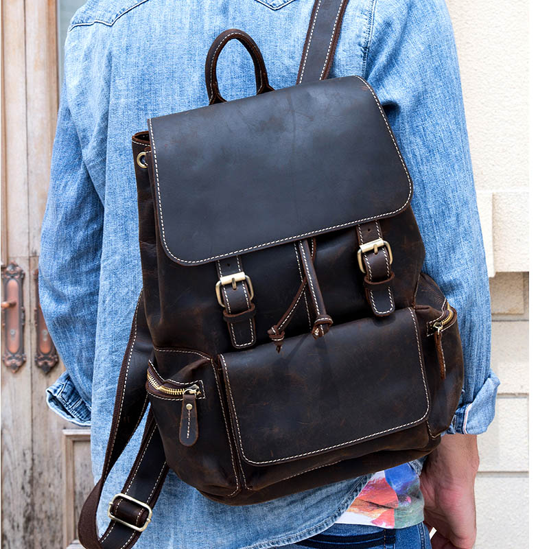 Vintage Crazy Horse Leather Backpack Thick Genuine Cow Leather Women School Rucksack 14 Laptop Travel Backpack