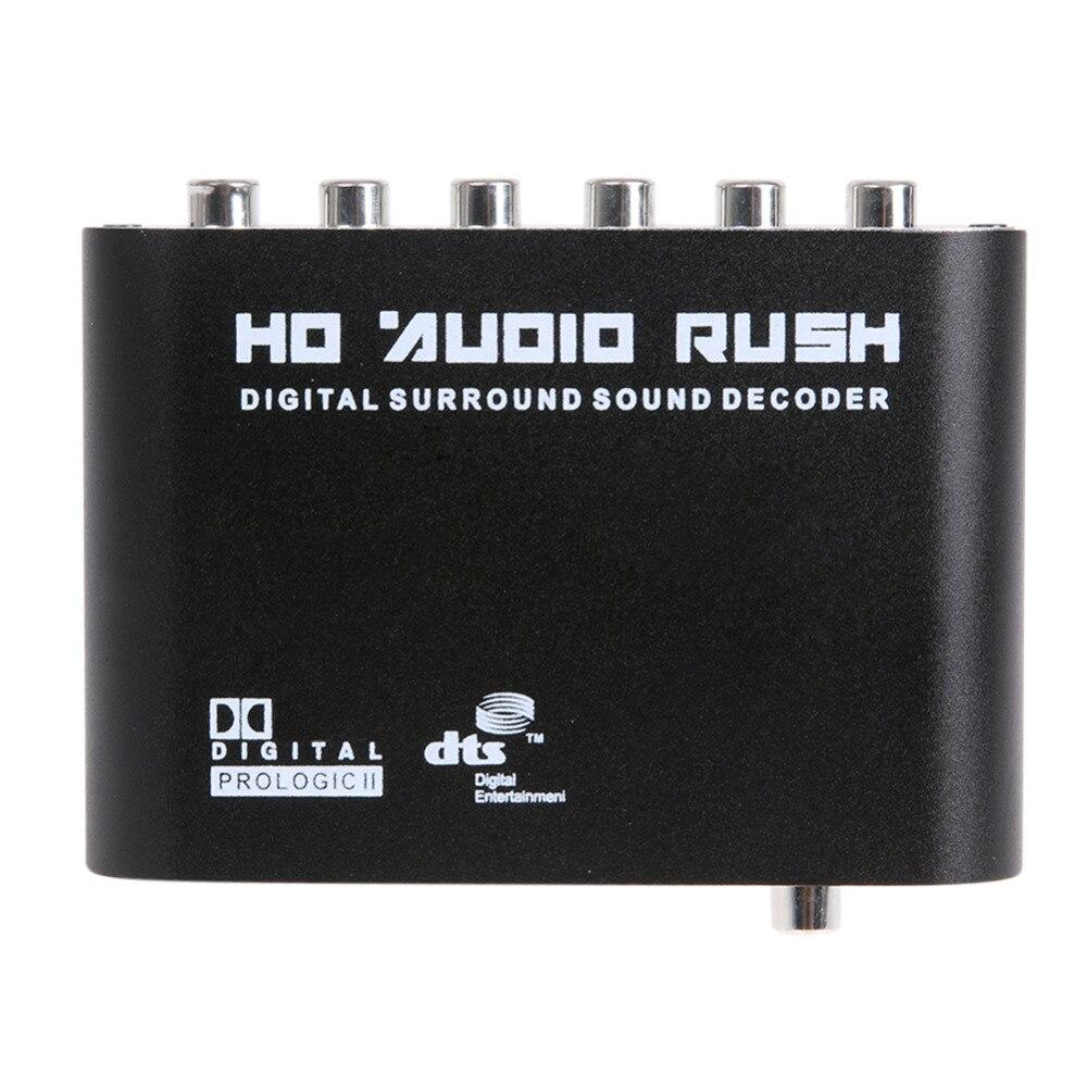 DTS AC3 5,1 CH SPDIF Coaxial de Audio Digital DTS/AC-3 5,1 decodificador analógico convertidor adaptador de salida RCA Surround sonido decodificador