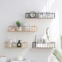 New Nordic simple wooden wrought iron racks Home debris storage finishing decoration