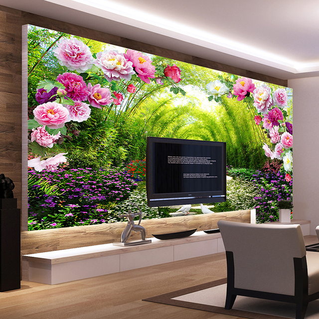 Custom Wall Murals Non Woven Printing Wall Paper Painting Bright Peony  Florals Living Room Bedroom Part 41