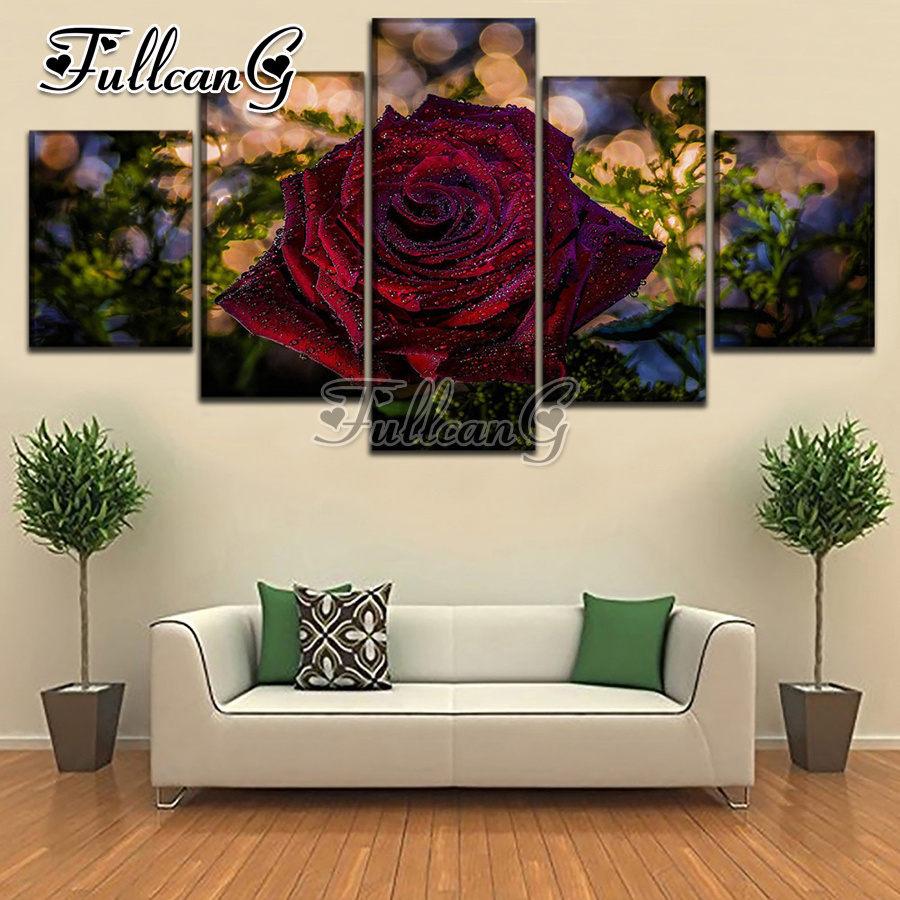 FULLCANG needlework diy 5 pieces diamond painting quot rose flowers quot full square round drill 5d cross stitch embroidery kits FC079 in Diamond Painting Cross Stitch from Home amp Garden