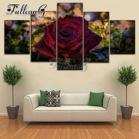 FULLCANG needlework diy 5 pieces diamond painting rose flowers full square/round drill 5d cross stitch embroidery kits FC079