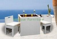 White New Pe Rattan Patio Bar Furniture Bar Table Chair
