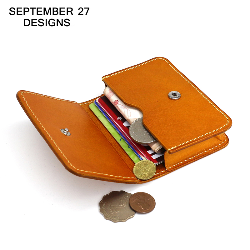 Business Card Case Genuine Leather Mini Wallet Retro Credit Card ...