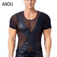 AIIOU Mens Sexy Faux Leather Undershirts Male Mesh Transparent Men Black Tees Tight Shirts Gay Funny Undershirts Dance Wear