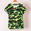 4 colors Women Camouflage 2017 T-shirts Bat sleeve t shirts Stretch Cotton tees Modal tops Personalized jersey Plus size S/M
