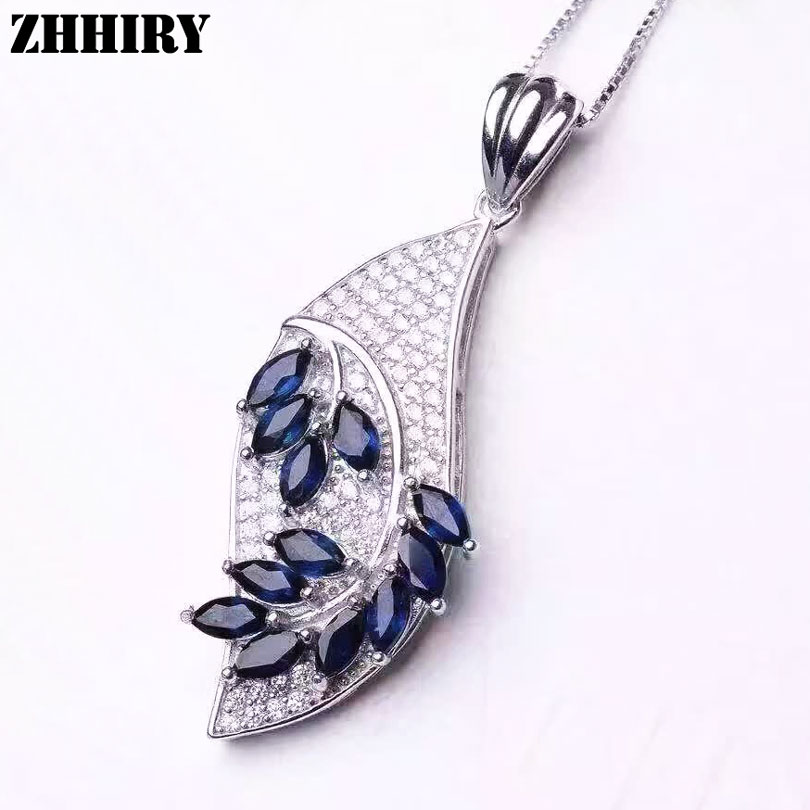Women Natural Blue Sapphire Necklace Pendant Genuine Solid 925 Sterling Silver Fine Gemstone Jewelry все цены