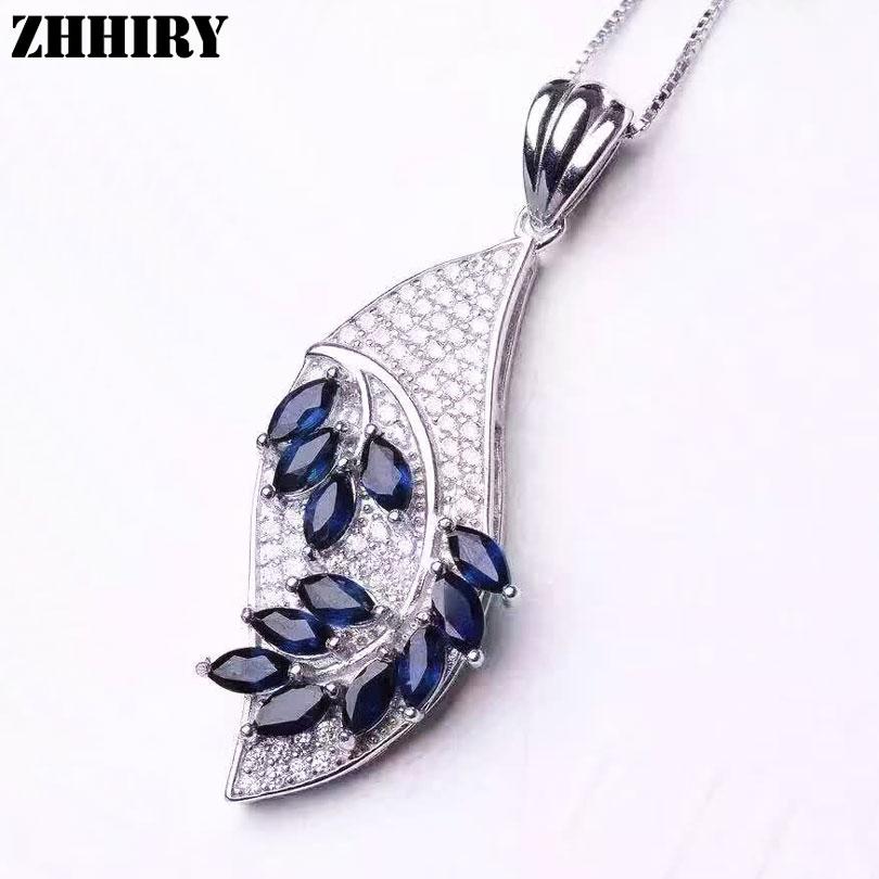 Здесь продается  Women Natural Blue Sapphire Necklace Pendant Genuine Solid 925 Sterling Silver Fine Gemstone Jewelry  Ювелирные изделия и часы