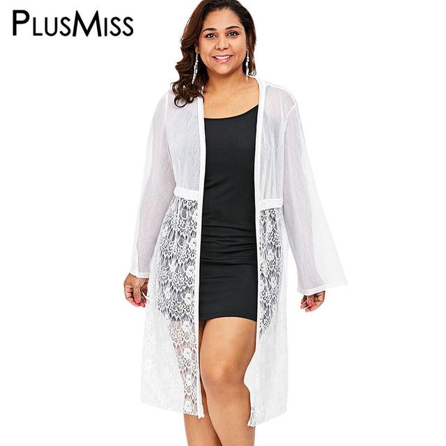 da3f8c7055462 PlusMiss Plus Size White Floral Lace Mesh Kimono Cardigan Blouse Women Big  Size Beach Long Sleeve Boho Long Tops Ladies 2018