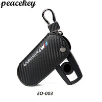 Carbon Leather Key Cover Keyrin For BMW X1 X3 X5 X6 3 5 Series Car Styling