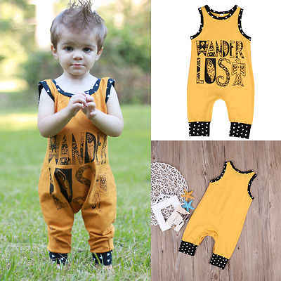 88a9017e1b12 ... Cute Newborn Baby Boys Girls Clothes Cotton Sleeveless Yellow Boho  Romper Jumpsuit Outfits Sunsuit ...