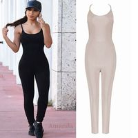 2017 Fashion Black Beige Spaghetti Strap Bandage Jumpsuit Sexy Brief Backless Off Shoulder Rayon Party Women