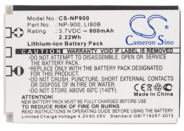 Cameron Sino 600mAh Battery Li-80B for Olympus T-100, X-960, BLi-296 For Polaroid T830, T830A, For UFO DS5080, DS5331, DS5332