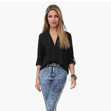 Hot Sale 2017 Summer Women Long Sleeve V-neck Chiffon Shirt Female Classic Loose Micro Perspective Shirts Wholesale Blouse