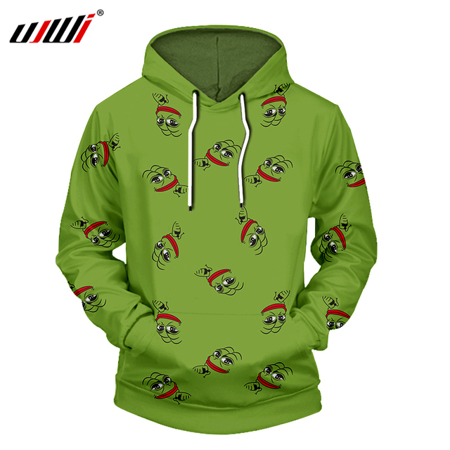 Ujwi New Men Hoodies Sweatshirt Fashion Cool Print Pepe The Frog