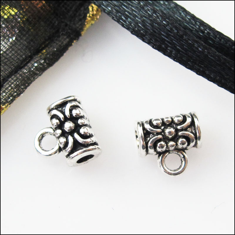 30Pcs Antiqued Silver Tube Flower Bail Bead Charms Connectors 7mm