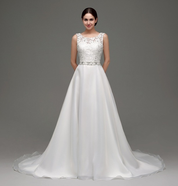 Aliexpress compre in stock 2016 a line simple wedding dress in stock 2016 a line simple wedding dress real photo lace appliques scoop collar open back junglespirit Choice Image