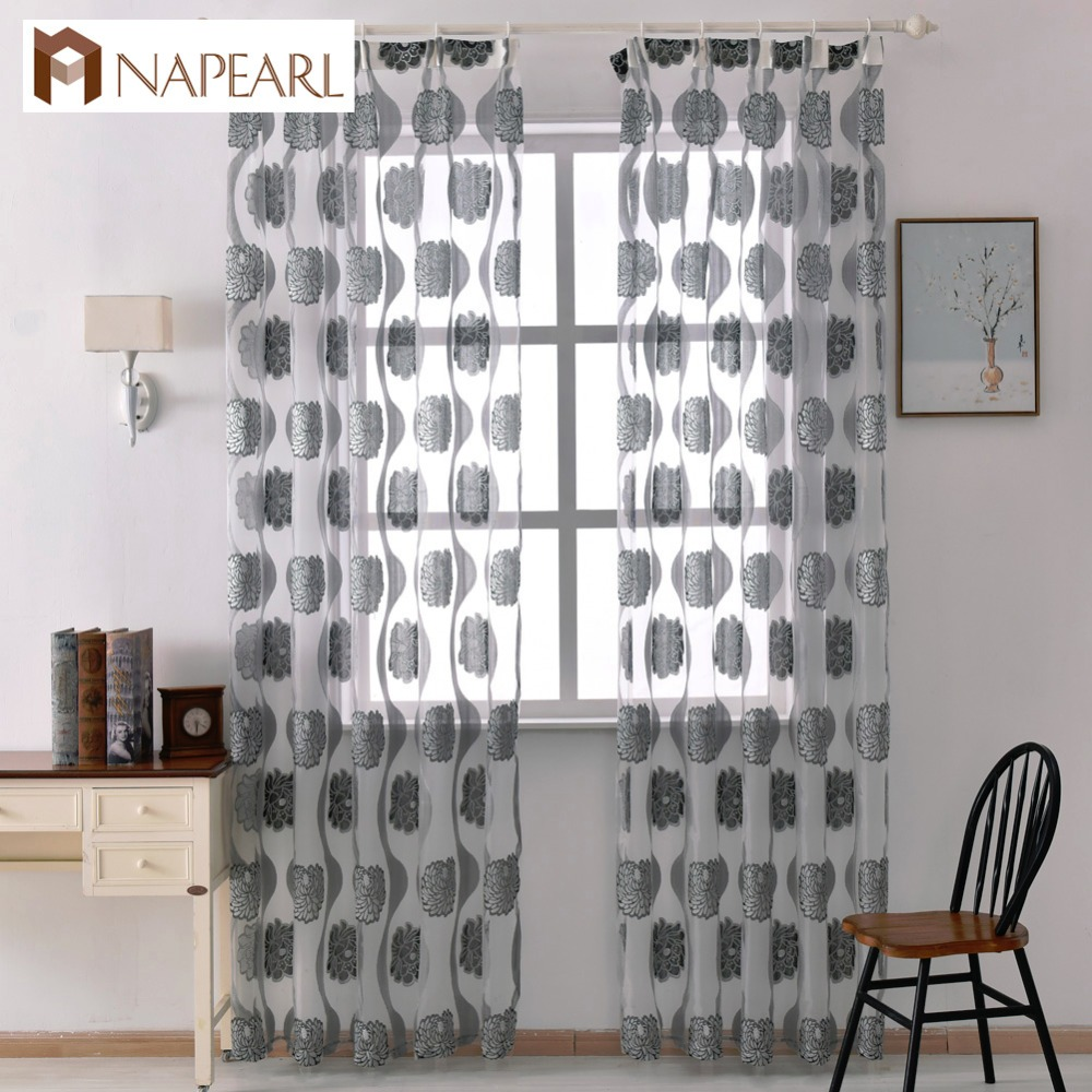 Organza Tulle Curtains Kitchen Curtains Designs Sheer Panel Transparent Window Curtain Luxury Elegant Floral Ready Made