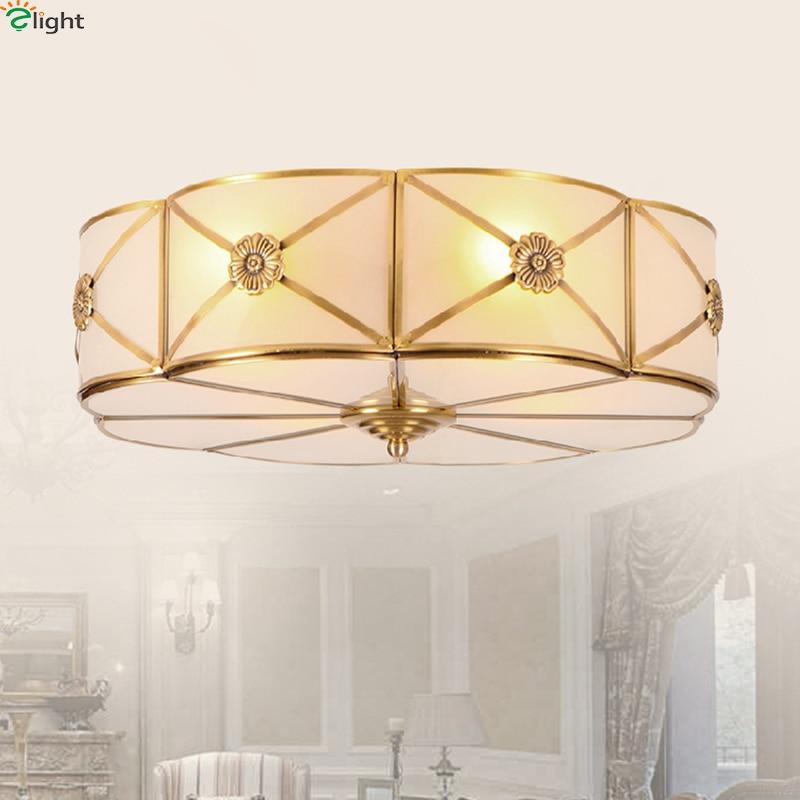 European Retro Copper Led Ceiling Lights Lustre Glass Bedroom Led Ceiling Lamp Fixtures Living Room Led Ceiling Light Luminaria