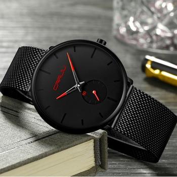 55593499e3f1 Crrju reloj hombres superior de la marca de lujo de cuarzo reloj Casual de  cuarzo correa de malla de acero inoxidable ultra delgado reloj hombre relog