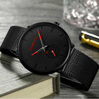 Crrju watch men Top Brand Luxury Quartz watch Casual quartz-watch stainless steel Mesh strap ultra thin clock male Relog