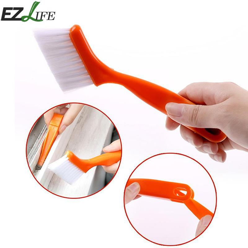 1pc Handheld Plastic Cleaning Brush Multifunctional 2-in-one Groove Slot Brush Kitchen Household Cleaning Tools SQA7878 #1019