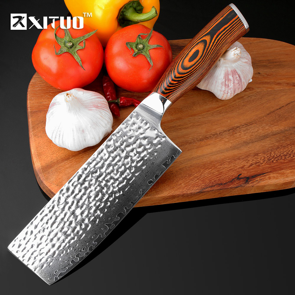 XITUO 7 inch Damascus Chef Knife Japanese vg10 Damascus Steel Kitchen Knife Handmade Forged Santoku Cleaver