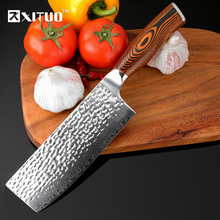 XITUO 7inch Damascus Chef Knife Japanese vg10 Steel Kitchen Handmade Forged Santoku Cleaver Slicing Utility Tool