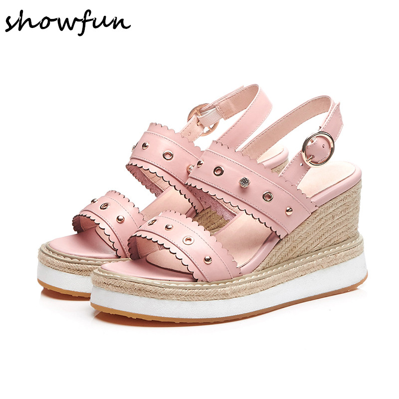Women's genuine leather wedge platform sandals brand designer open toe summer leisure high heeled sandalias rivet hold shoes hot candy color genuine leather vintage style women casual sandals 2017 designer open toe platform wedge handmade summer shoes
