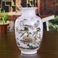 Jingdezhen ceramics pink vases blue-and-white landscape flowers and birds home furnishings modern living room ornaments and printio white and pink