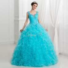 Puffy Ball Gown Ice Blue Quinceanera Dresses 2016 Ruffles Tulle Lace Beaded Princess Sweet 16 Dress Plus Size Vestidos Debutante