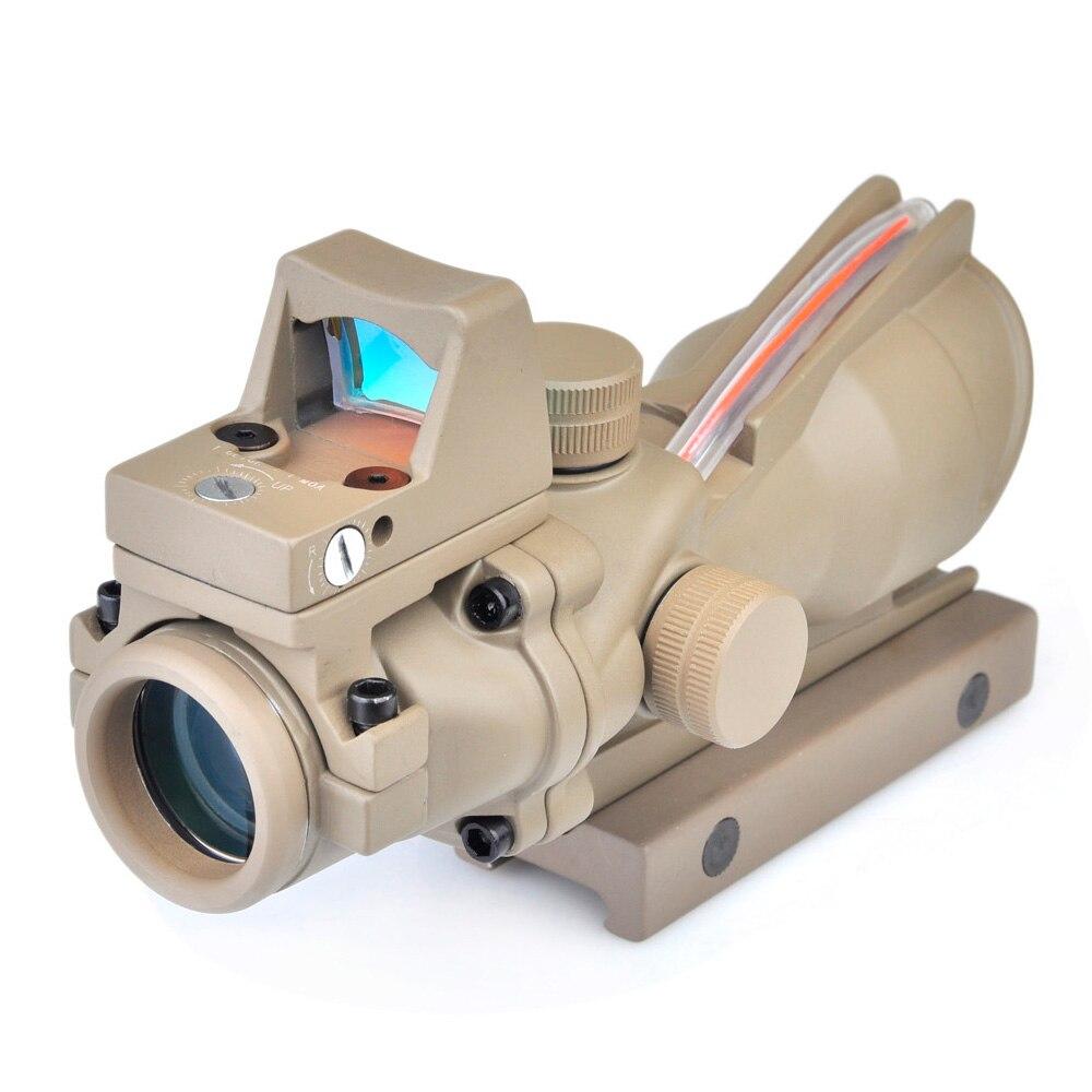 SEIGNEER тактическая оптика ACOG прицел винтовки 4x32 Настоящее волокно подсвеченный красным Crosshair BDC пистолет скопы с RMR охотничий прицел