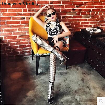 2018Bodysuit Women Jazz Dance Costumes Bar Dj Dancers Sexy Atmosphere Singer Europe and the United States Sexy Straps Bodysuit