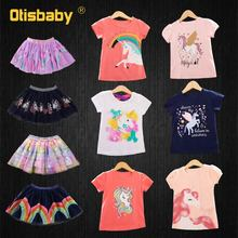 2-8 Age Summer Unicorn T Shirt + Ball Gown Rainbow Voile Tutu Skirt Kids Horse Clothes Girls Clothing Set Child Suit for Girls 2018 summer girls clothing set teenager suits children kids striped full sleeved t shirts long tutu skirt 2 piece sets age 4 12