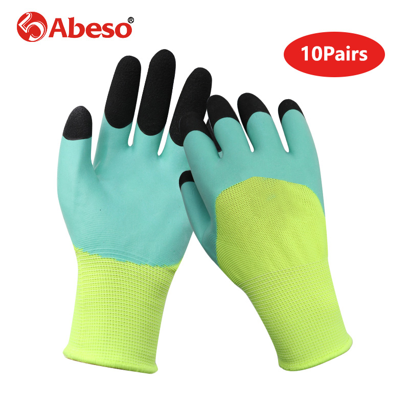 10Pairs Foaming Semi Hanging Safety Gloves Finger Strengthening Oil proof Waterproof Cut Resistant Breathable Working Glove|Safety Gloves| |  - title=
