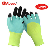 10Pairs Foaming Semi Hanging Safety Gloves Finger Strengthening Oil proof Waterproof Cut Resistant Breathable Working Glove